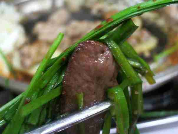 Beef Heart wrapped in Korean Chives