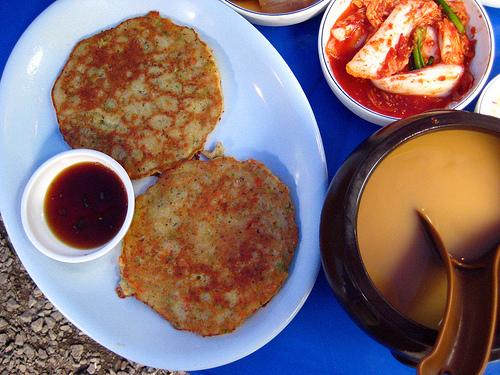 Mung bean pancakes and makkoli rice beer