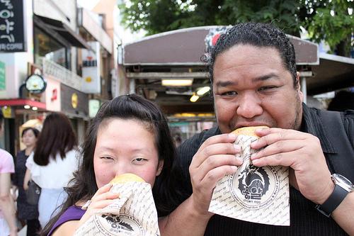 Sandy and Mike enjoying their Dragon Egg bread