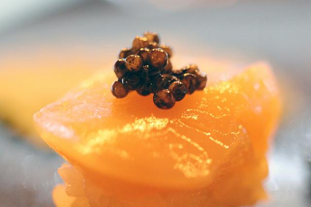 Caviar topped sushi at Namu