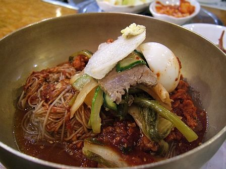 Spicy Naengmyeong with raw skate