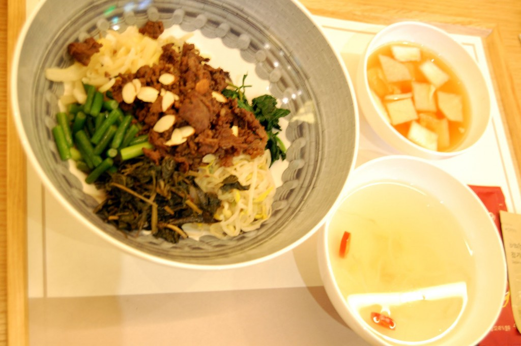 Bibimbap with water kimchi and bean sprout soup