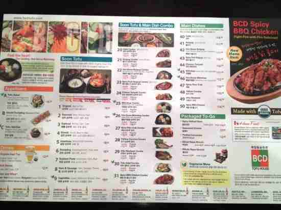 BCD Tofu House Menu