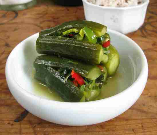 kimchi concombre coriandre