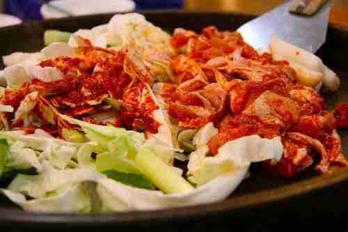 Chuncheon dakgalbi on griddle