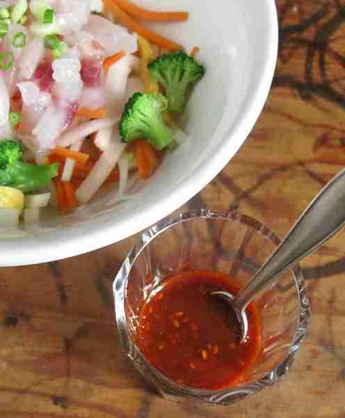 Salat roher Fisch Korea