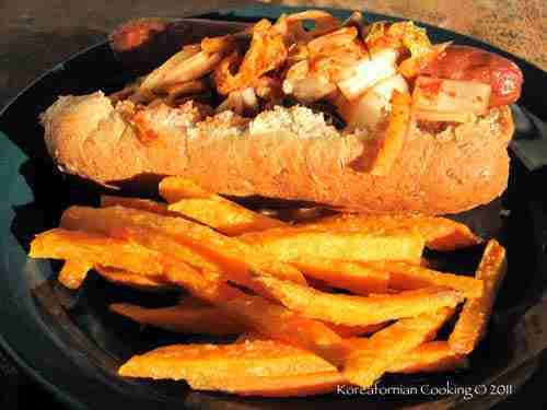 Koreamerican creation: Kimchi buffalo hot dog