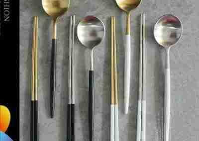 2-set Korean Chopstick & Spoon Sets (4 Colors)